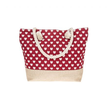 Hearts Tote Bag in Red
